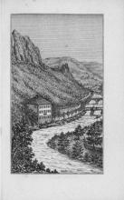 Ilustración del establecimiento balneario en Riva de Baños junto al río Iregua